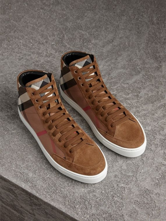House Check Cotton and Calf Suede High-top Trainers in Flax Brown