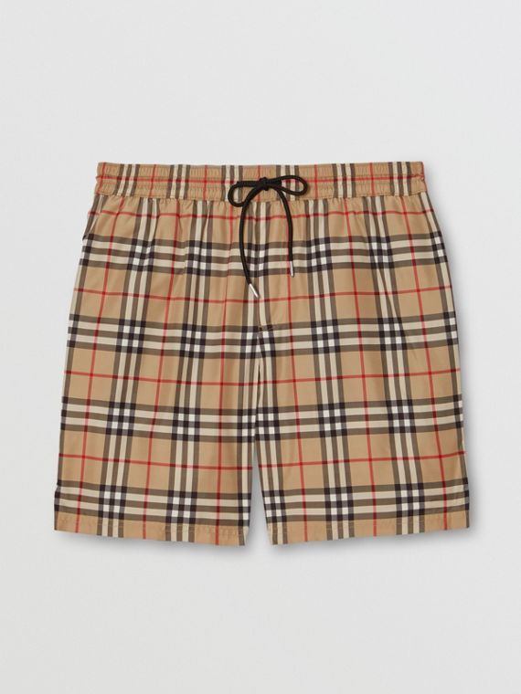 Vintage Check Drawcord Swim Shorts in Archive Beige