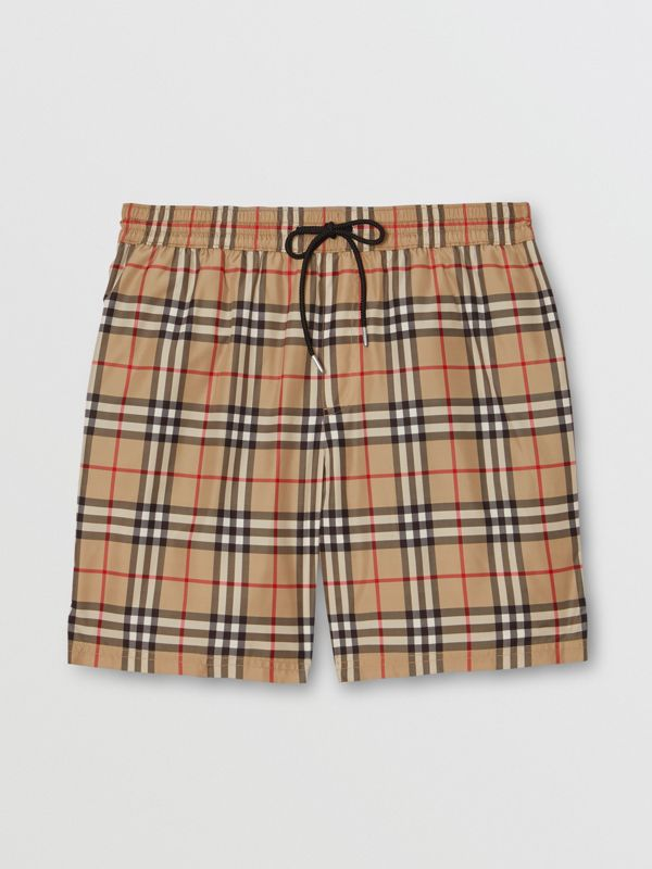 Vintage Check Drawcord Swim Shorts in Archive Beige - Men | Burberry United Kingdom - cell image 2