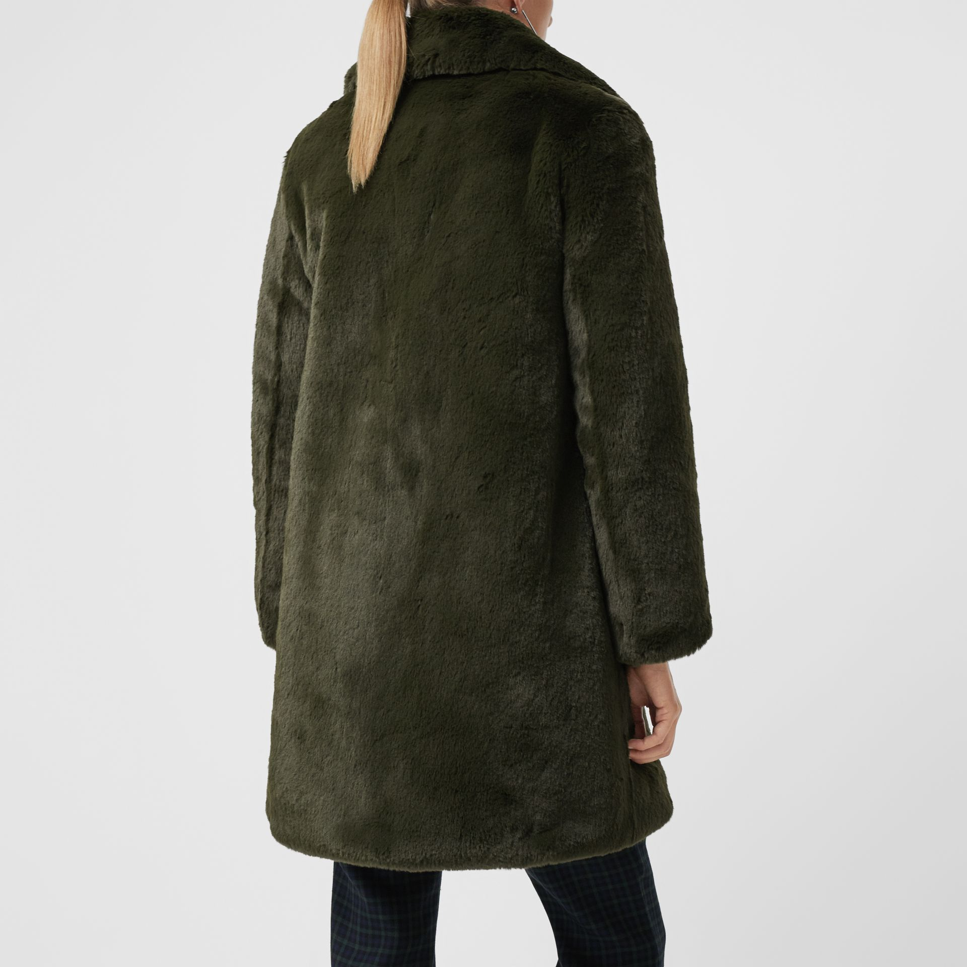 Faux Fur Single-breasted Coat in Dark Forest Green - Women | Burberry Australia - gallery image 2