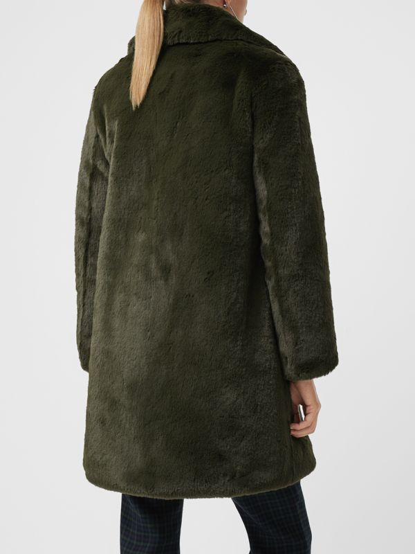 Faux Fur Single-breasted Coat in Dark Forest Green - Women | Burberry - cell image 2