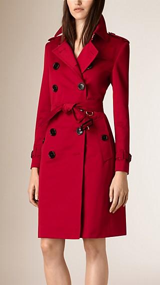 Trench coat in satin di cotone con pannello inferiore a pieghe