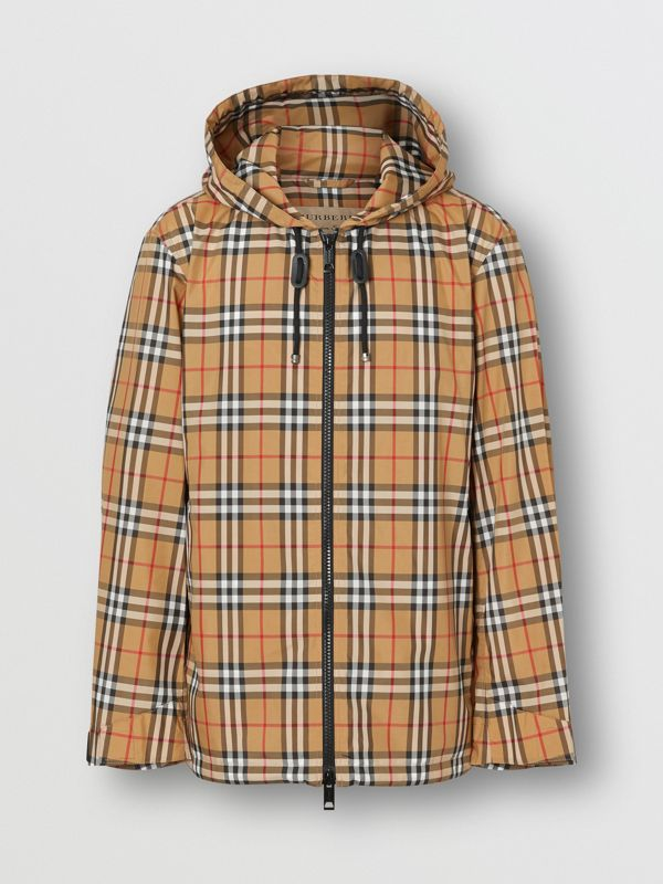 Vintage Check Lightweight Hooded Jacket in Antique Yellow - Men | Burberry - cell image 3