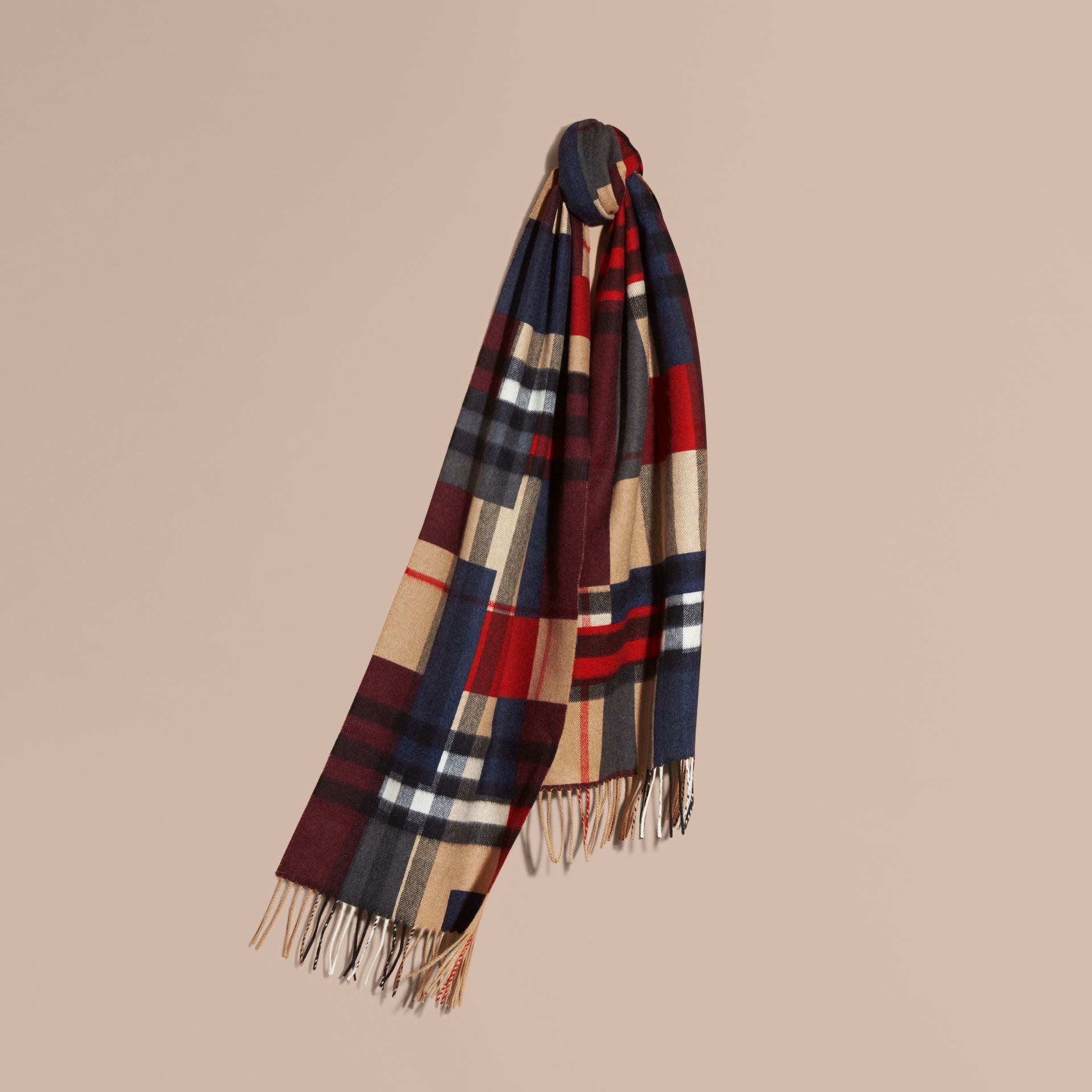Parade red The Classic Cashmere Scarf in Colour Block Check - gallery image 6