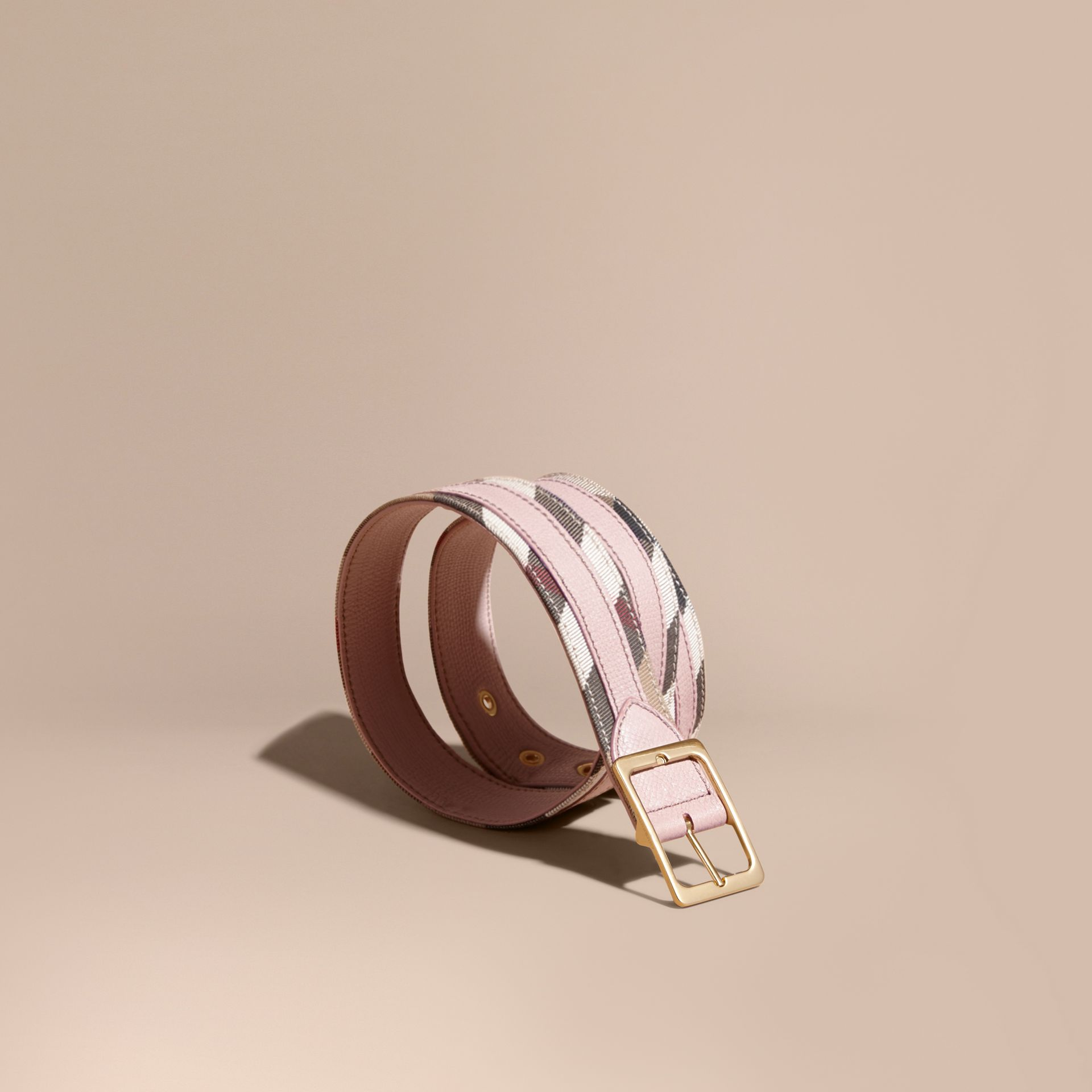 House Check and Grainy Leather Belt in Camel/pale Orchid - Women | Burberry Singapore - gallery image 1