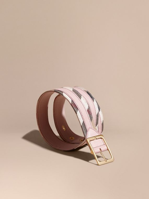 House Check and Grainy Leather Belt in Camel/pale Orchid