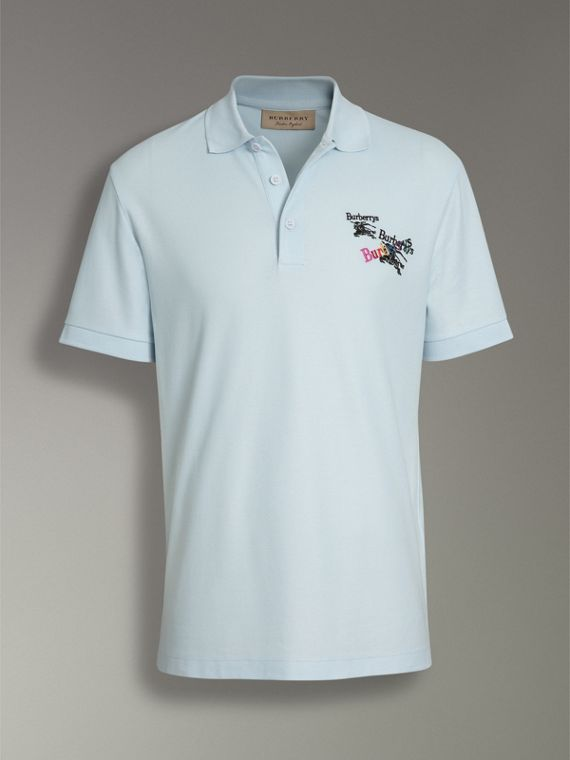 Triple Archive Logo Cotton Piqué Polo Shirt in Pearl Blue - Men | Burberry - cell image 3