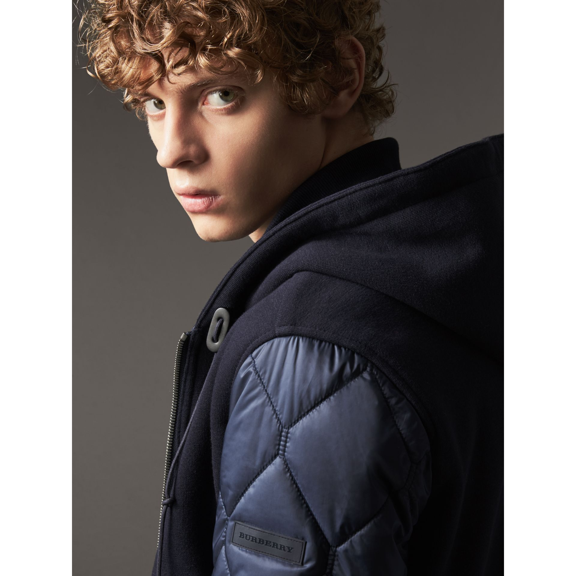 Reversible Quilted Cotton Hooded Bomber Jacket in Navy - Men | Burberry United States - gallery image 2