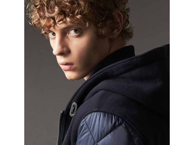 Reversible Quilted Cotton Hooded Bomber Jacket in Navy - Men | Burberry United Kingdom - cell image 1