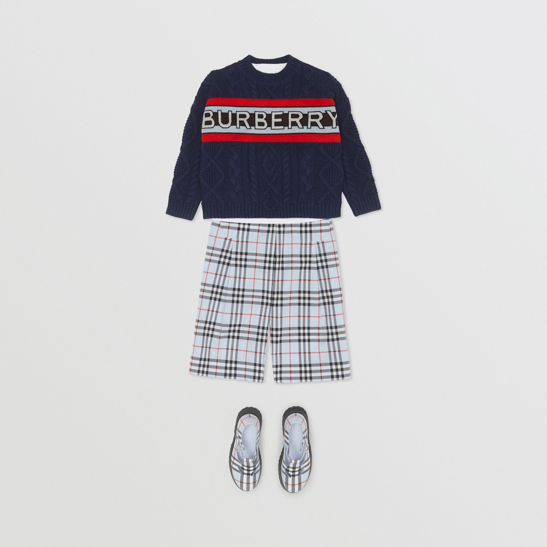 Logo Panel Cable Knit Wool Cashmere Sweater in Navy | Burberry Singapore - gallery image 2