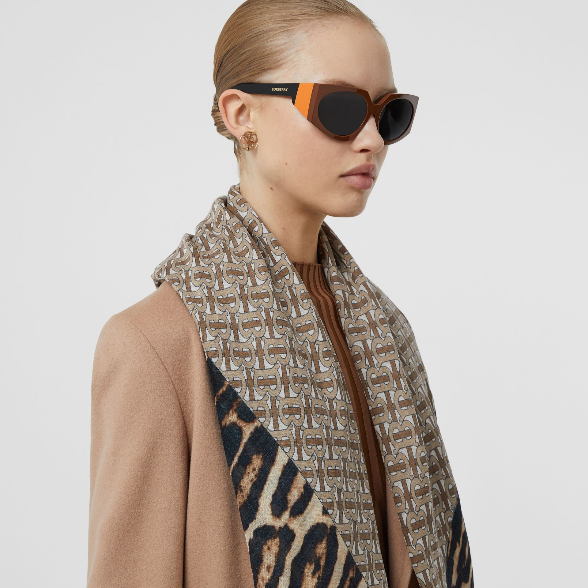 Geometric Frame Sunglasses in Tan - Women | Burberry - gallery image 2