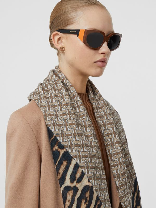 Geometric Frame Sunglasses in Tan - Women | Burberry - cell image 2