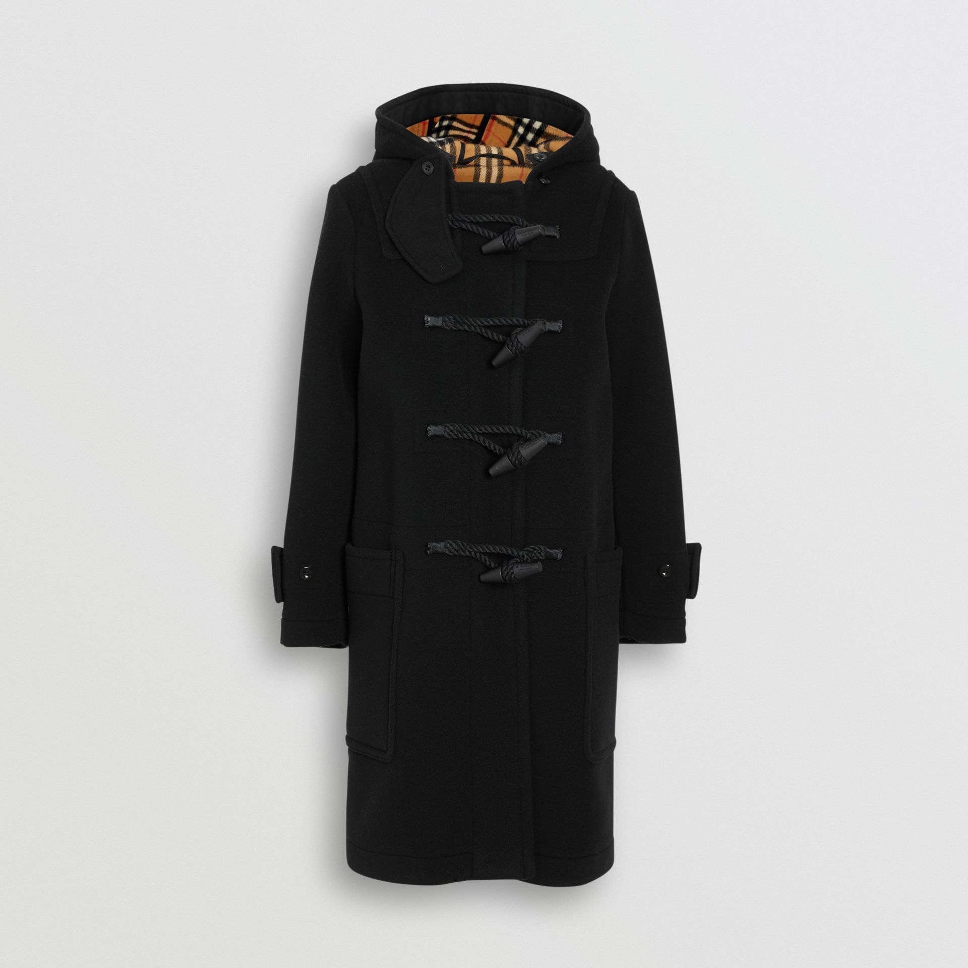 Wool Blend Duffle Coat in Black - Women | Burberry - gallery image 3
