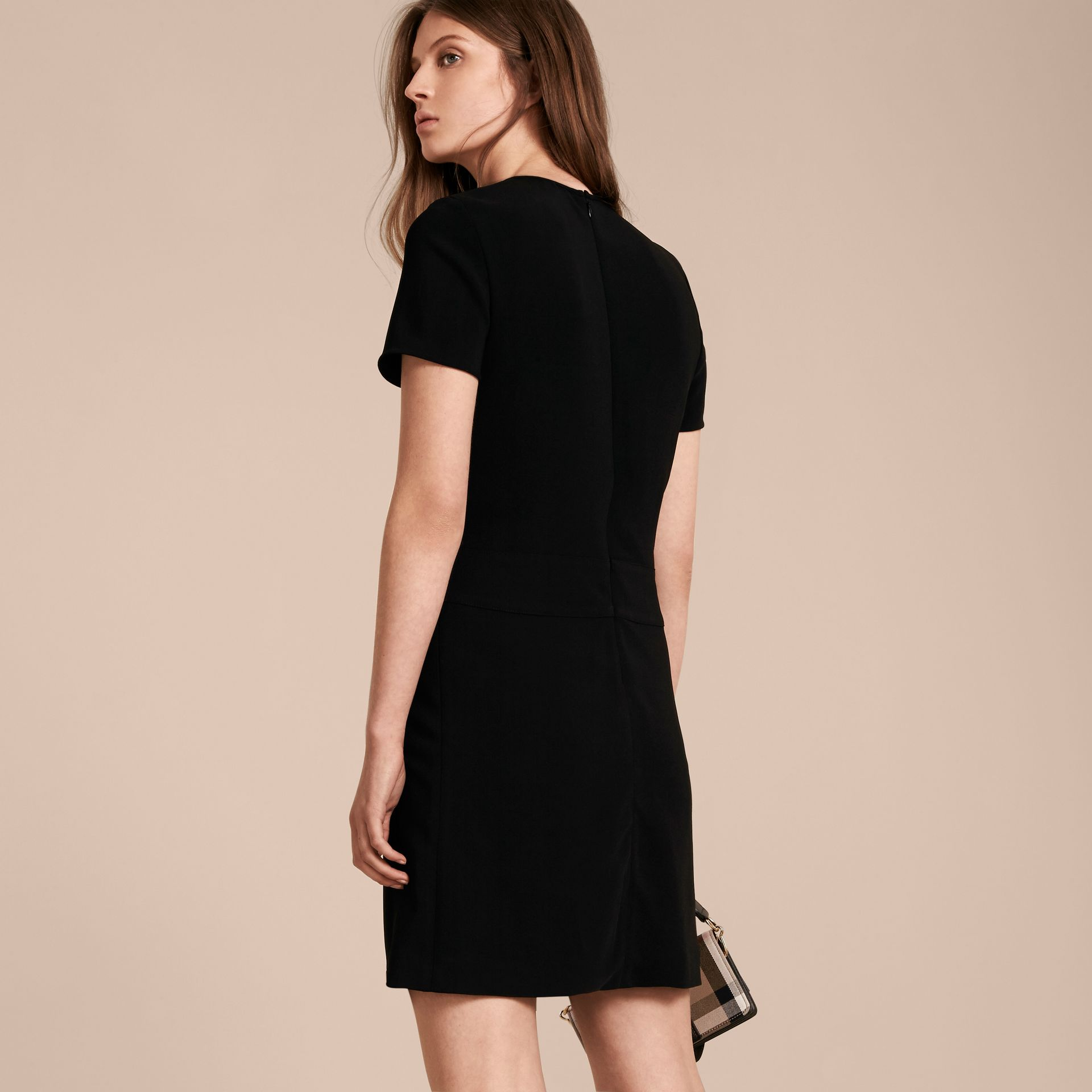 Buckle Detail Pleated Shift Dress in Black - gallery image 3