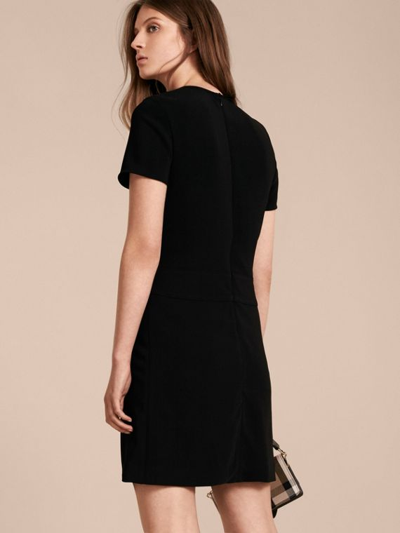 Black Buckle Detail Pleated Shift Dress Black - cell image 2
