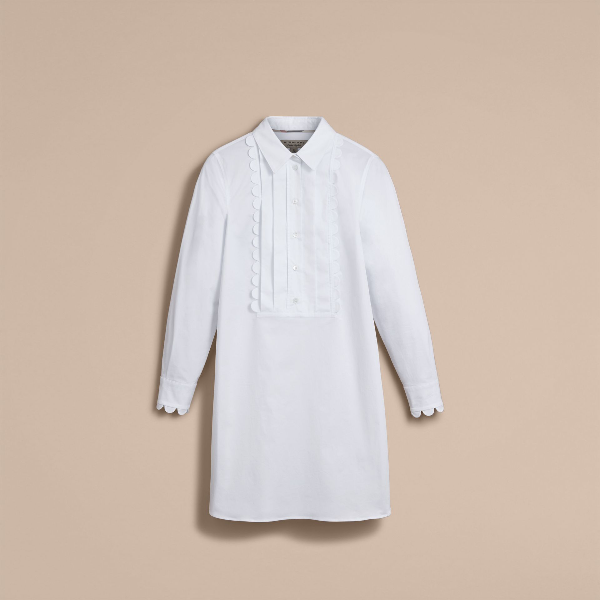 Pintuck Bib Scallop Detail Cotton Shirt - Women | Burberry Australia - gallery image 4