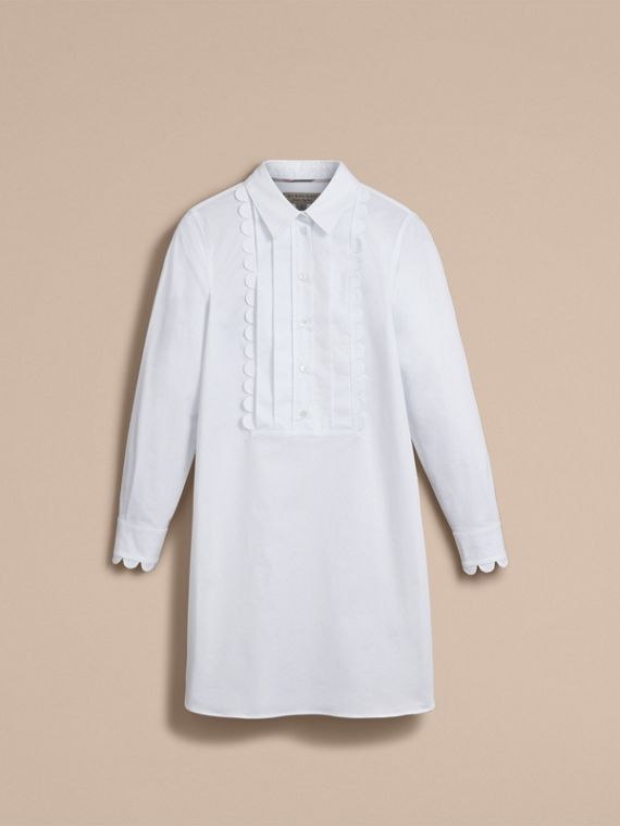Pintuck Bib Scallop Detail Cotton Shirt - Women | Burberry - cell image 3