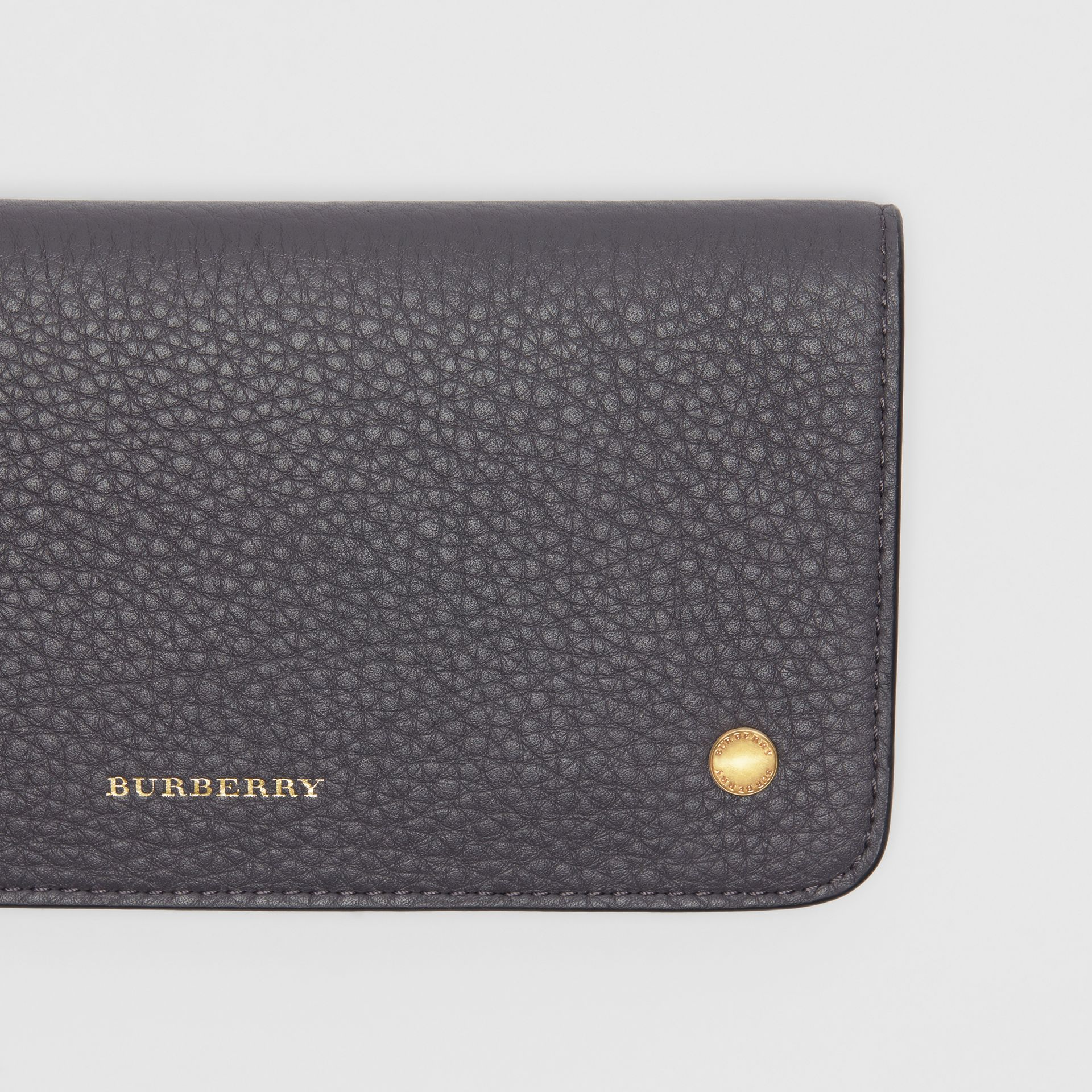 Leather Phone Wallet in Charcoal Grey - Women | Burberry - gallery image 1