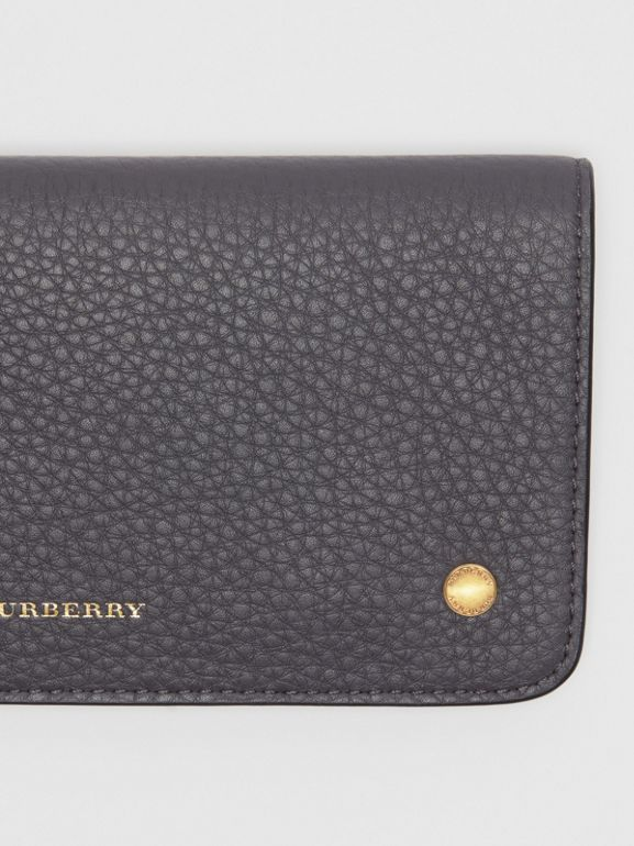 Leather Phone Wallet in Charcoal Grey - Women | Burberry - cell image 1