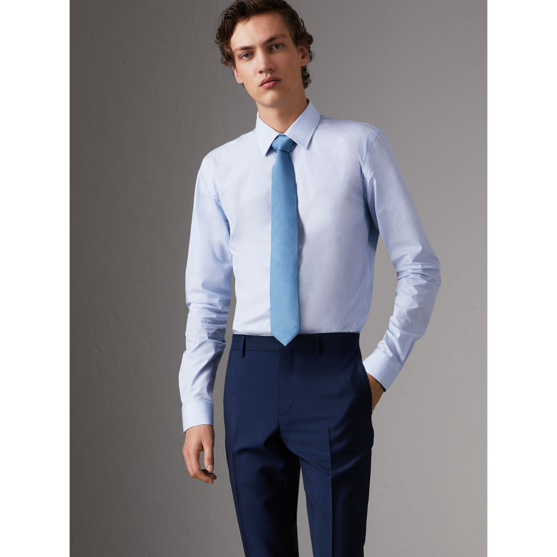 Slim Fit Striped Cotton Poplin Shirt in City Blue - Men | Burberry Canada - gallery image 1