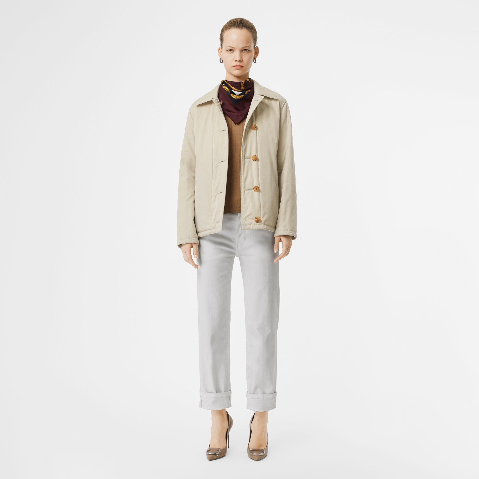 Reversible Quilted Cotton Jacket in Natural White - Women | Burberry - gallery image 0