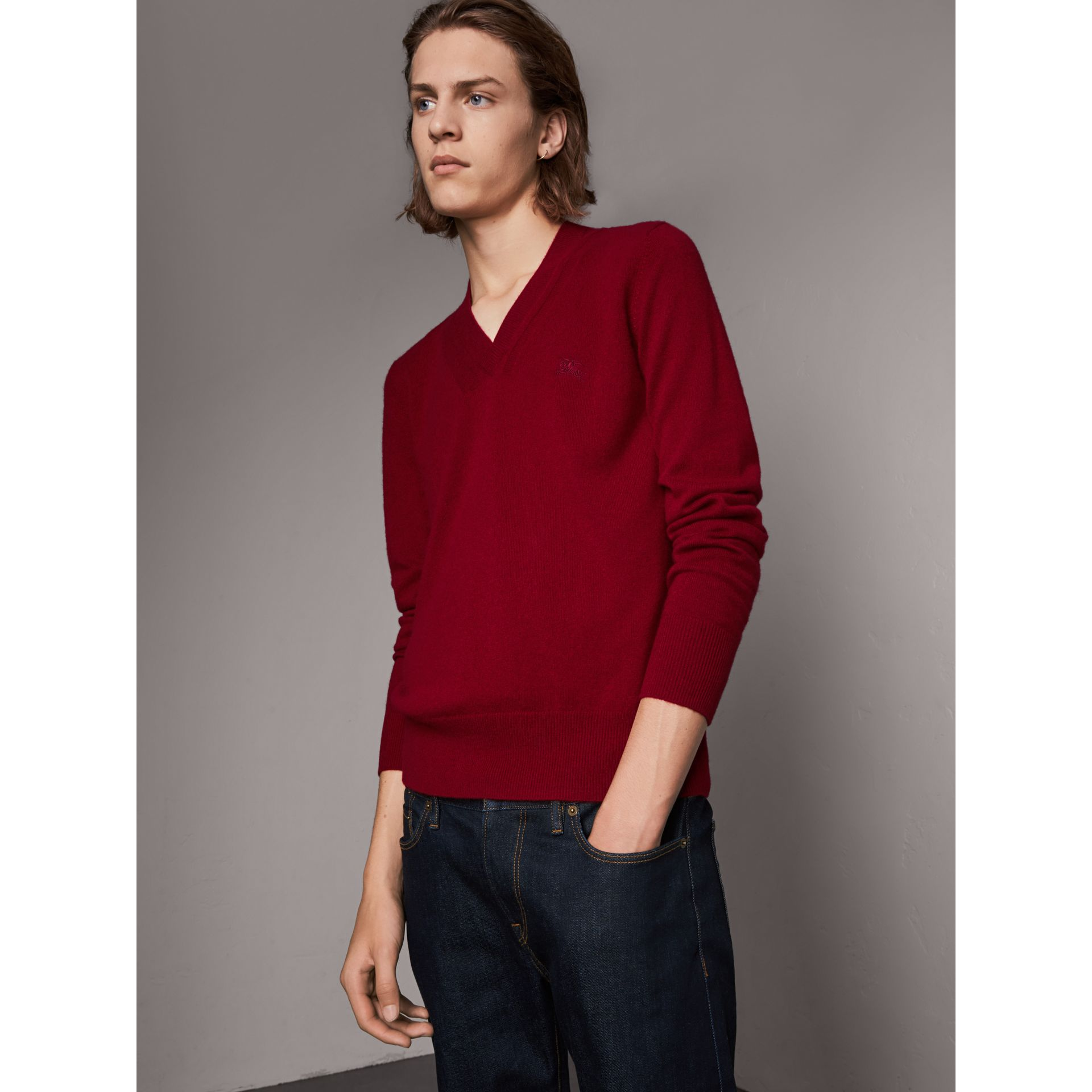 Cashmere V-neck Sweater in Crimson Red - Men | Burberry - gallery image 1