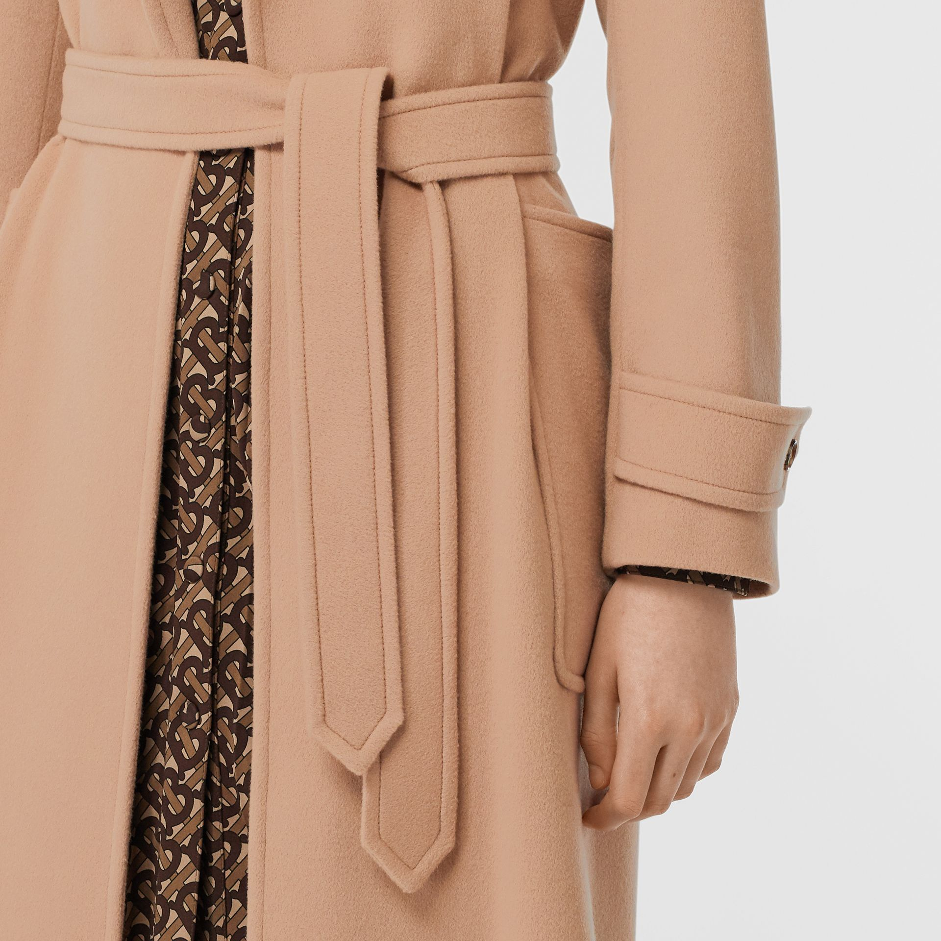 Cashmere Wrap Coat in Modern Beige - Women | Burberry - gallery image 4