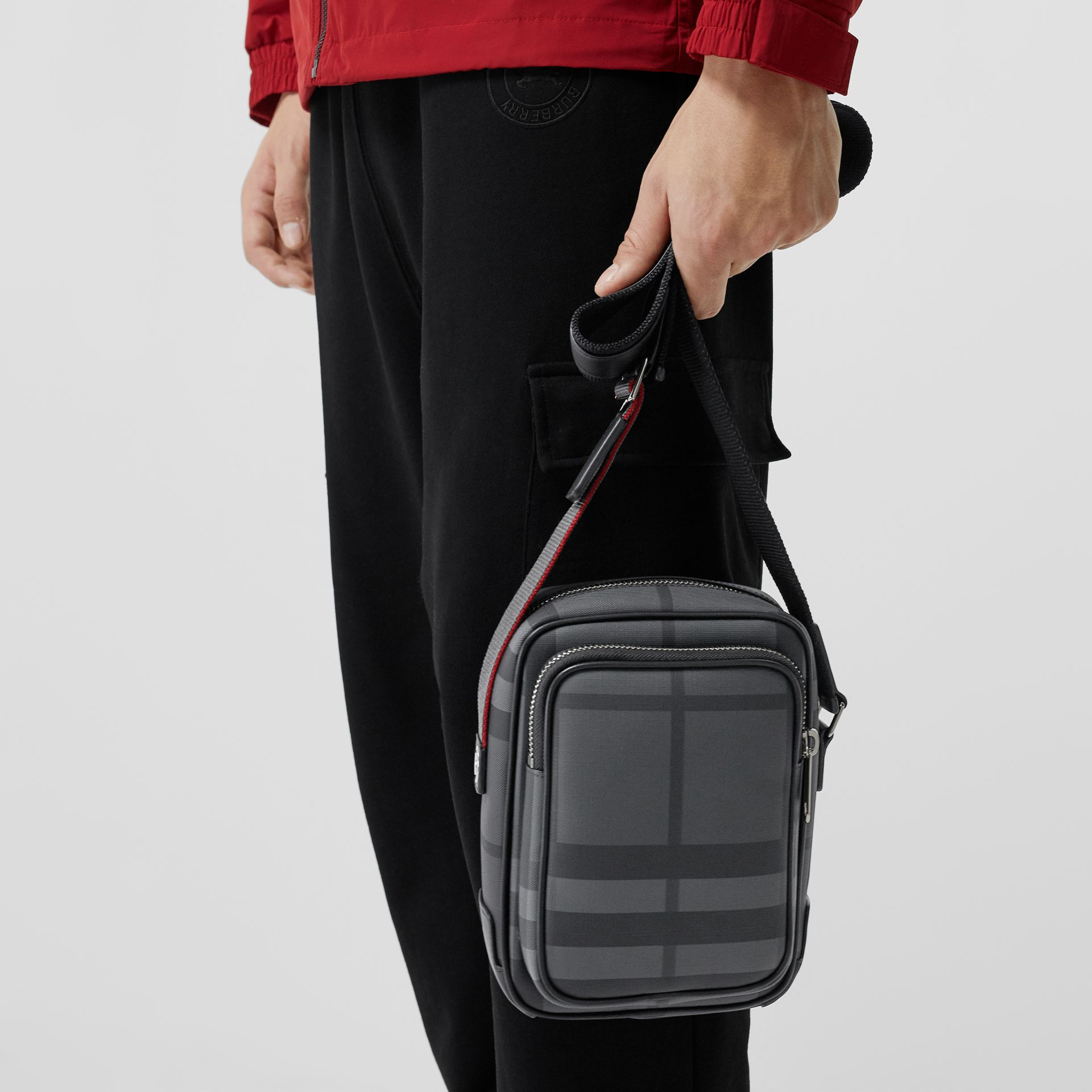 Small London Check Crossbody Bag in Charcoal/black - Men | Burberry Hong Kong - gallery image 3