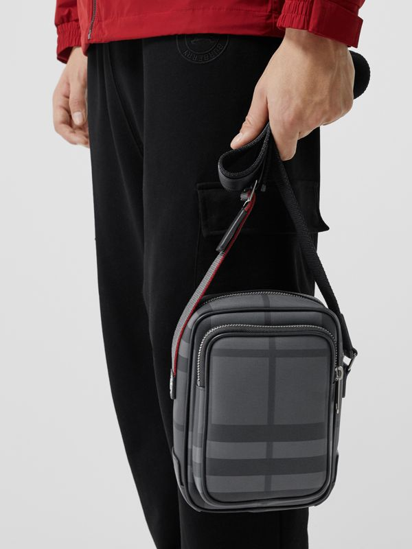 Small London Check Crossbody Bag in Charcoal/black - Men | Burberry Hong Kong - cell image 3