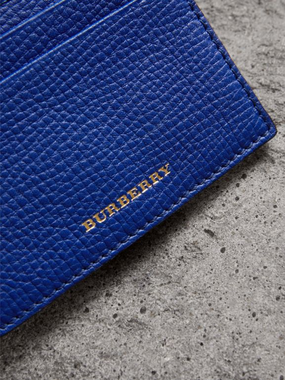House Check and Grainy Leather Card Case in Deep Blue | Burberry - cell image 1