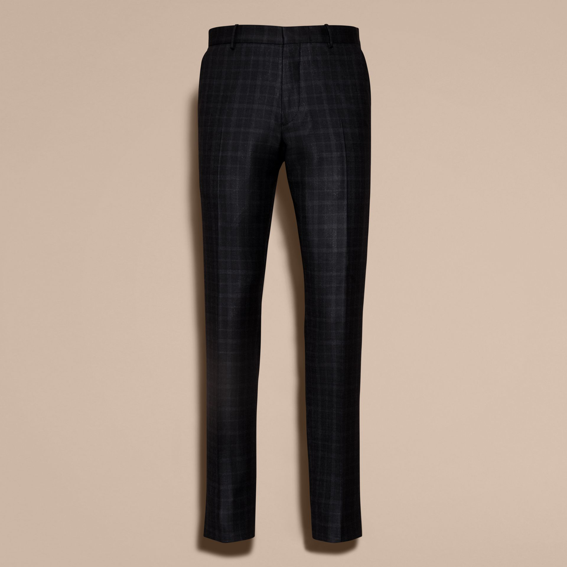 Ink Slim Fit Check Wool Tailored Trousers - gallery image 4