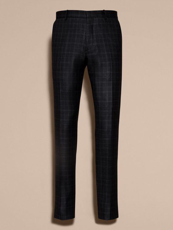 Ink Slim Fit Check Wool Tailored Trousers - cell image 3