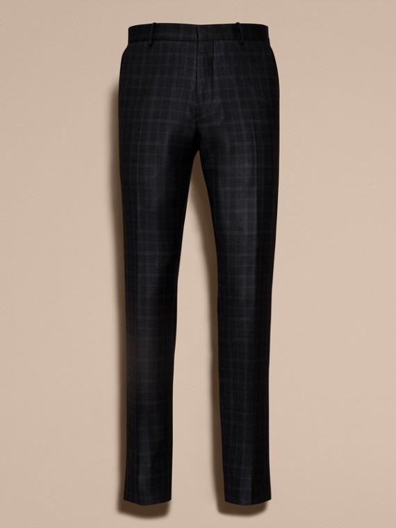 Encre Pantalon en laine de coupe slim à motif check - cell image 3