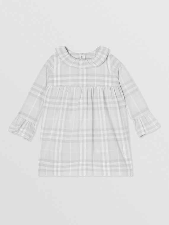 Long-sleeve Vintage Check Cotton Dress in Pale Grey