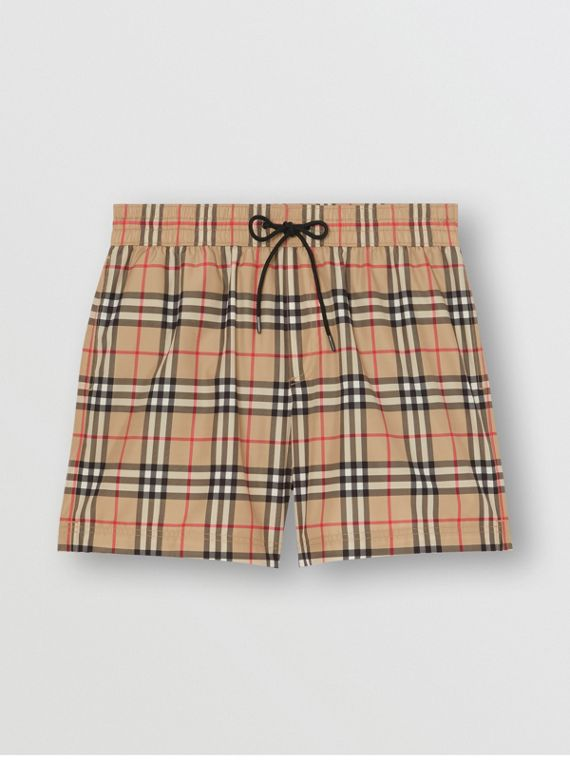 06702d2ae205f2 Vintage Check Drawcord Swim Shorts in Archive Beige