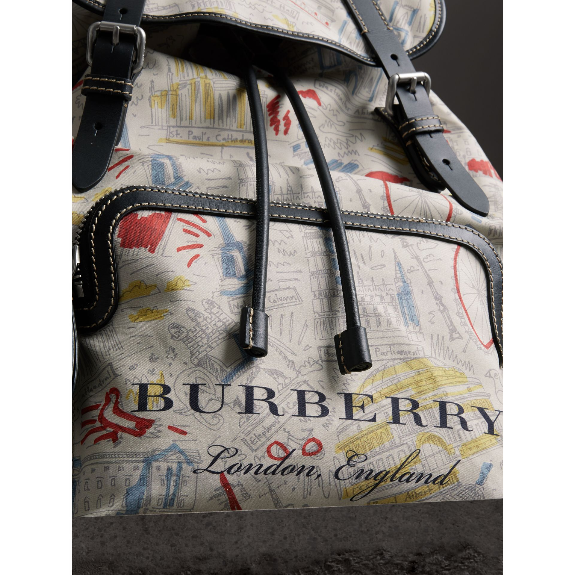 The Large Rucksack in London Print Canvas and Leather in Multicolour - Men | Burberry Singapore - gallery image 1