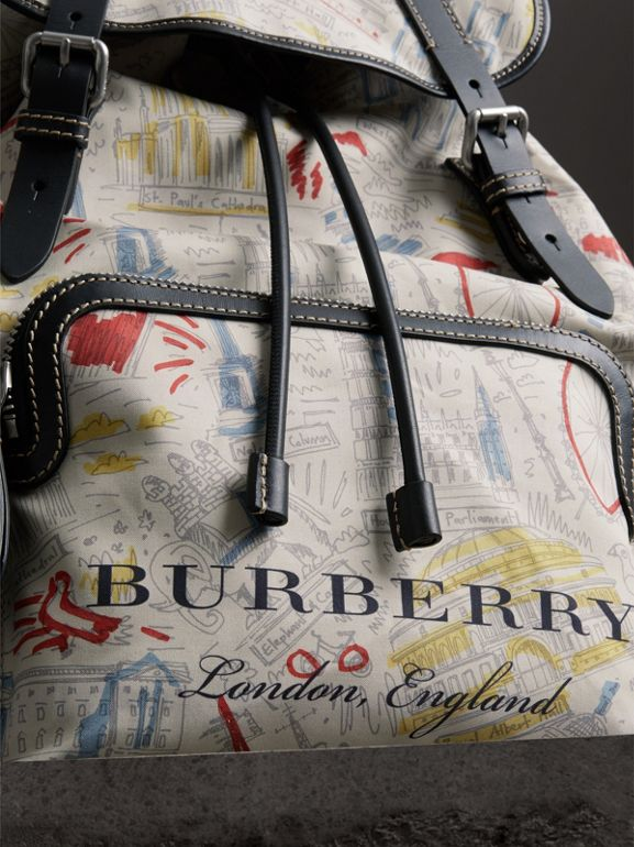 The Large Rucksack in London Print Canvas and Leather in Multicolour - Men | Burberry United Kingdom - cell image 1
