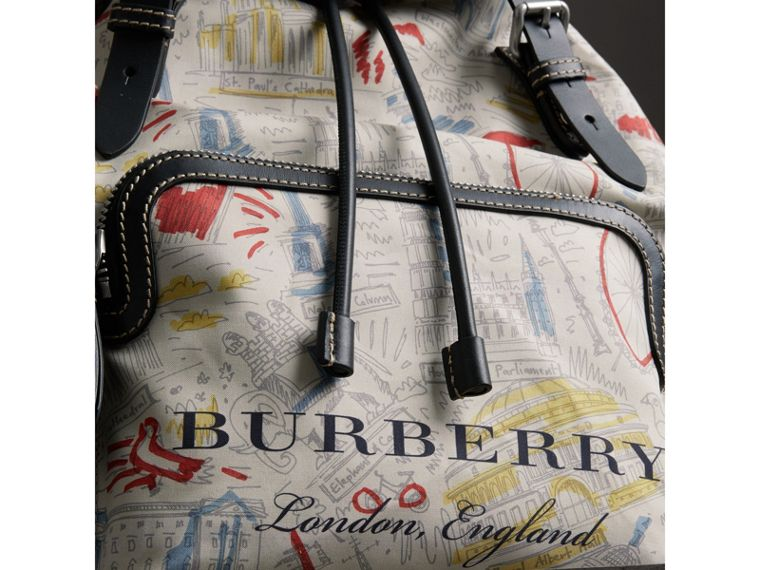 The Large Rucksack in London Print Canvas and Leather in Multicolour - Men | Burberry - cell image 1