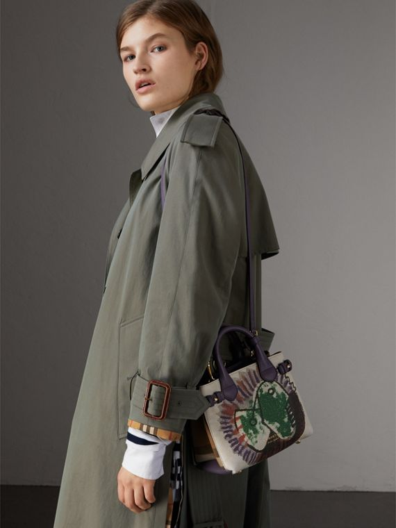The Baby Banner in Leather with Pallas Heads Print in Dusty Violet - Women | Burberry Australia - cell image 3