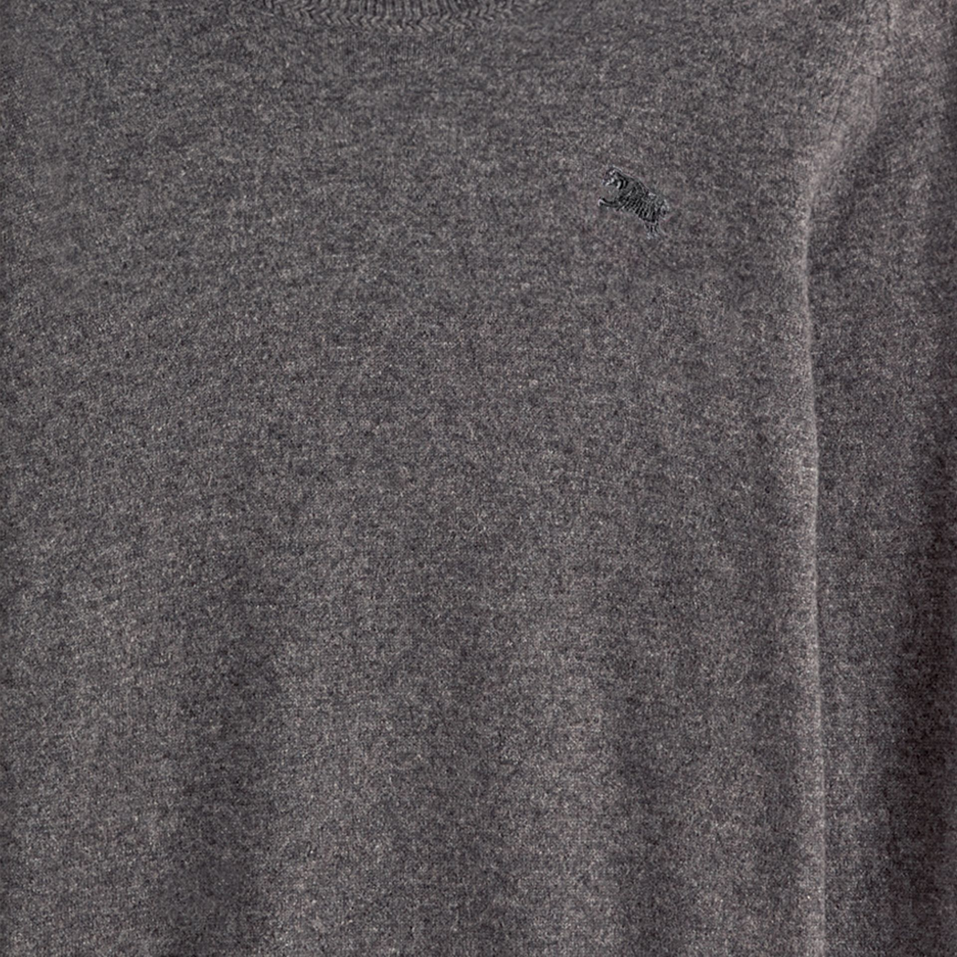 Crew Neck Cashmere Sweater in Mid Grey Melange - gallery image 2