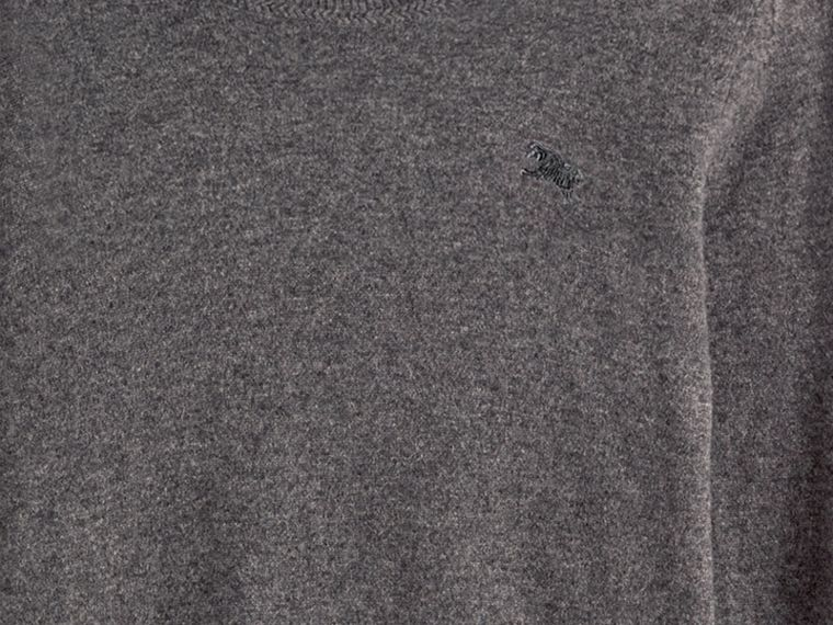Crew Neck Cashmere Sweater in Mid Grey Melange - cell image 1