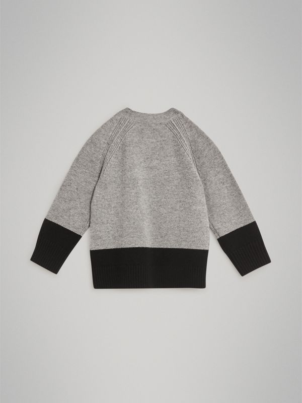 Logo Intarsia Cashmere Sweater in Grey Melange | Burberry Hong Kong - cell image 3