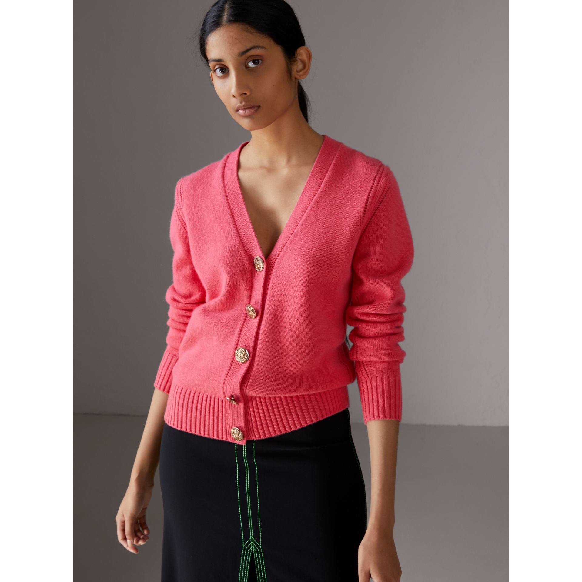 Bird Button Cashmere Cardigan in Rose Pink - Women | Burberry Canada - gallery image 4