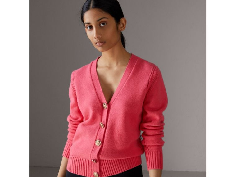 Bird Button Cashmere Cardigan in Rose Pink - Women | Burberry - cell image 4