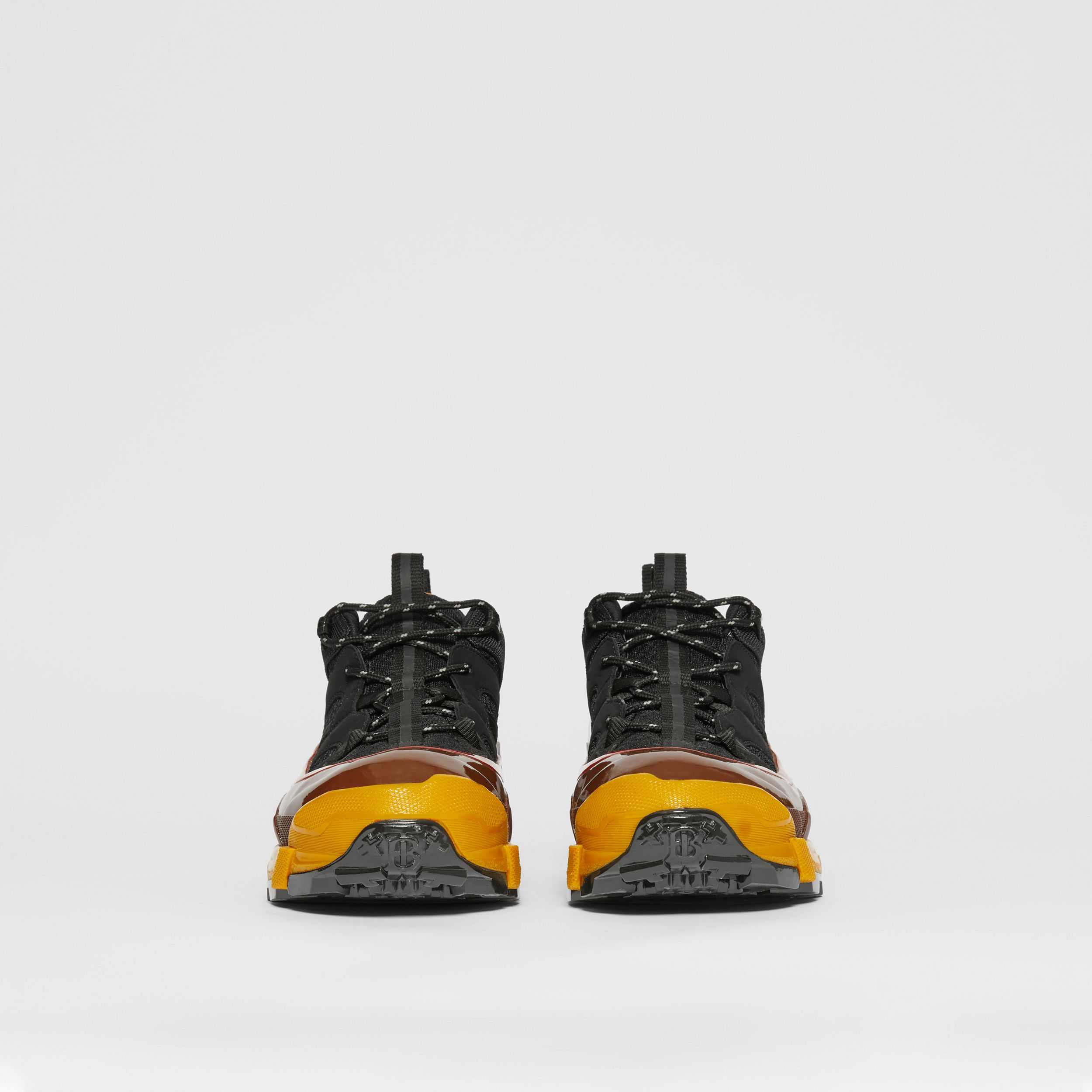 Mesh, Nylon and Nubuck Arthur Sneakers in Black/yellow - Men | Burberry Canada - 4