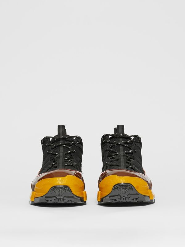 Mesh, Nylon and Nubuck Arthur Sneakers in Black/yellow   Burberry - cell image 2