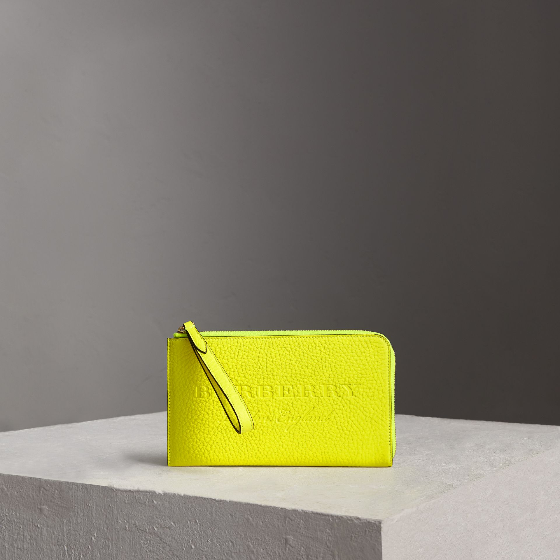 Embossed Neon Leather Travel Wallet in Bright Yellow | Burberry United Kingdom - gallery image 0