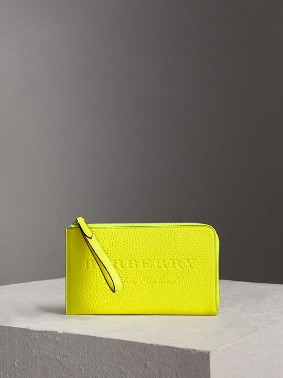 Embossed Neon Leather Travel Wallet in Bright Yellow
