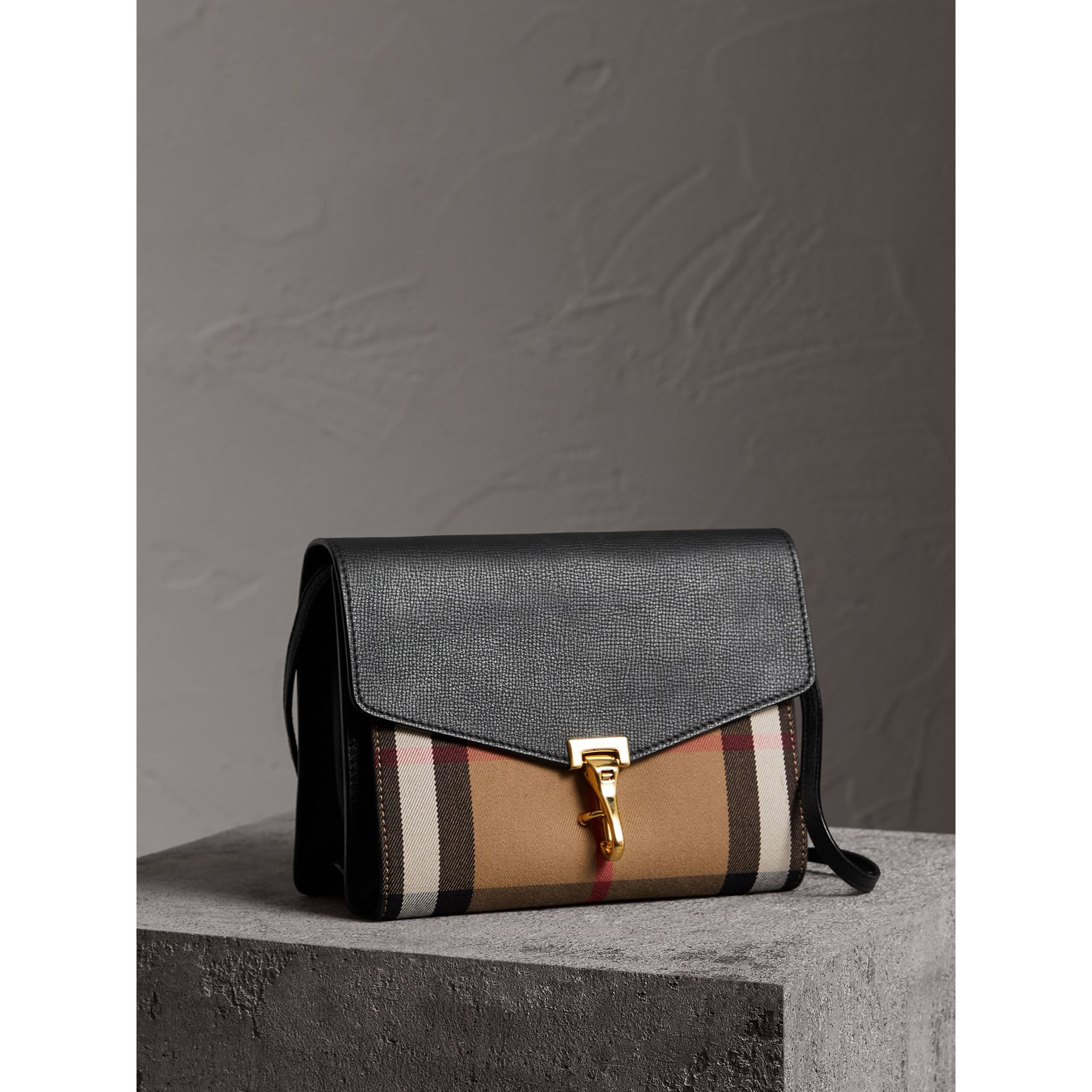 Small Leather and House Check Crossbody Bag in Black - Women | Burberry - gallery image 7