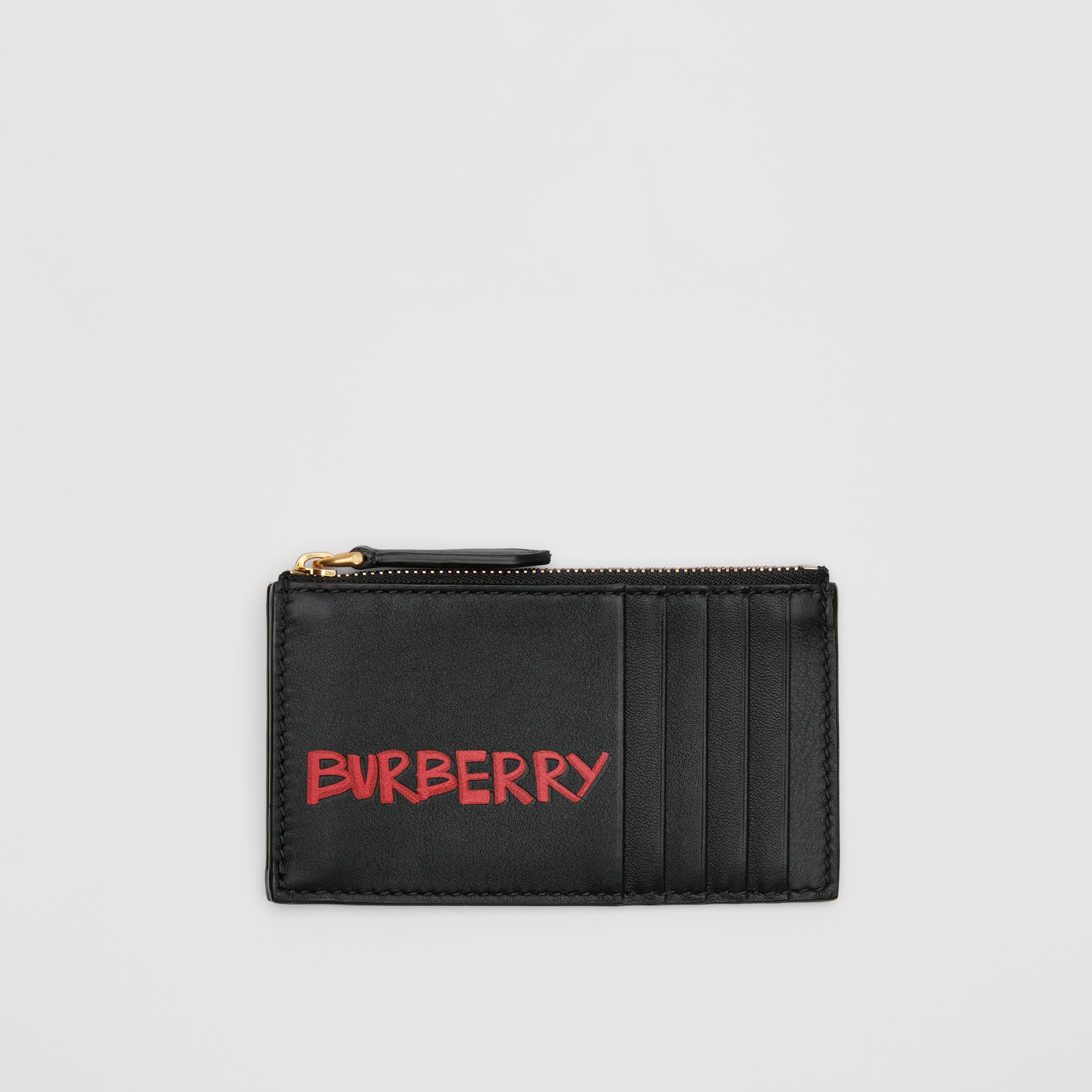 Graffiti Print Leather Zip Card Case in Black | Burberry Australia - gallery image 0